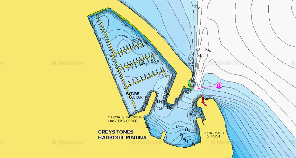 Navigation Chart Navionics. This chart shows the entrance to Greystones Harbour Marina with sonar overlay.